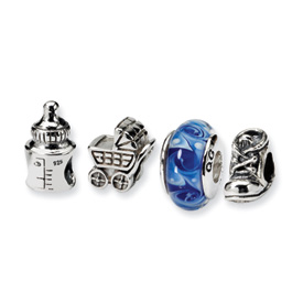 Reflection Beads Sterling Silver  Baby Boy Boxed Bead Set