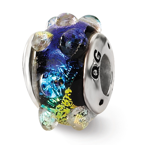 Sterling Silver Reflections Aruba Orange Dichroic Glass Bead