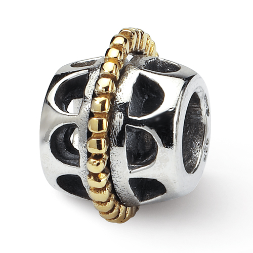 Jewelry Beads Themed Sterling Silver Gold-plated Reflections Hinged Floral Clip Bead