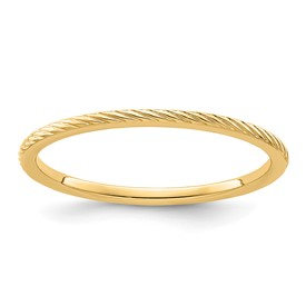 10K Gold 1.2mm Twisted Wire Pattern Stackable Band
