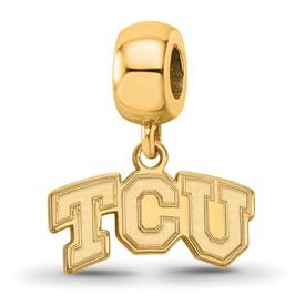 Sterling Silver with GP LogoArt Texas Christian University XS Dangle Bead Char