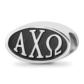 Sterling Silver Logoart 15.25Mm Alpha Chi Omega Oval Letters Bead