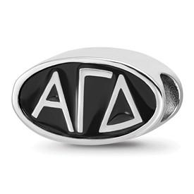 Sterling Silver Logoart Alpha Gamma Delta Oval Letters Bead