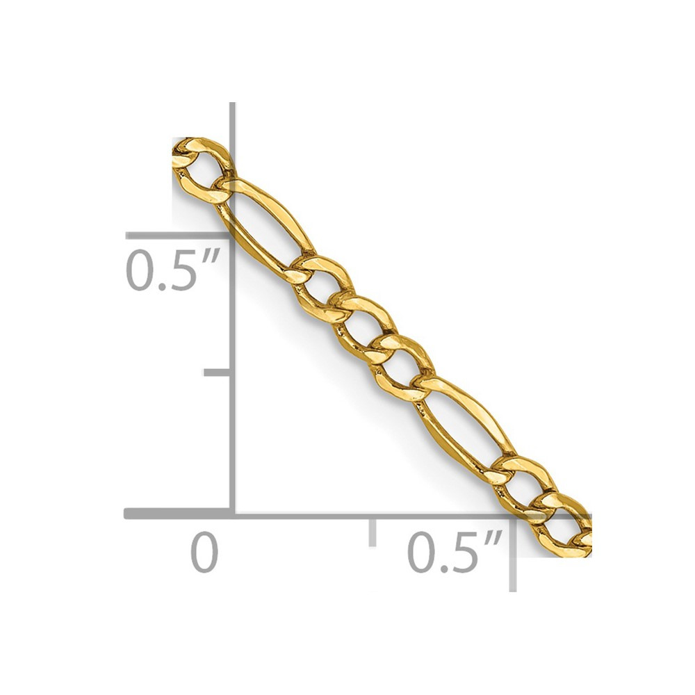 "Cadenas De Oro Italiano 14k: 14k Oro Amarillo 2.5mm Grosor Cadena Figaro 24"" Collar (2"