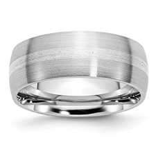 Chisel Cobalt Chromium Sterling Silver Inlay Satin 8mm Band