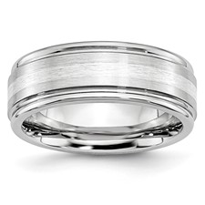 Chisel Cobalt Chromium Sterling Silver Inlay Satin and Polished 8mm Band