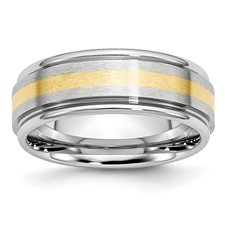 Chisel Cobalt Chromium 14k Gold Inlay Satin and Polished 8mm Band
