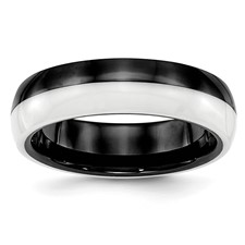 Ceramic Black and White 6.00mm Band