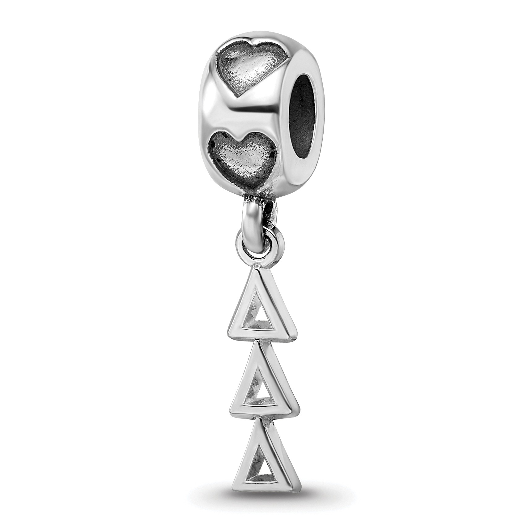 Greek Sororities SS PI BETA PHI VERTICAL LETTERS PENDANT HEART BEAD BLACK LEATH Size One Size