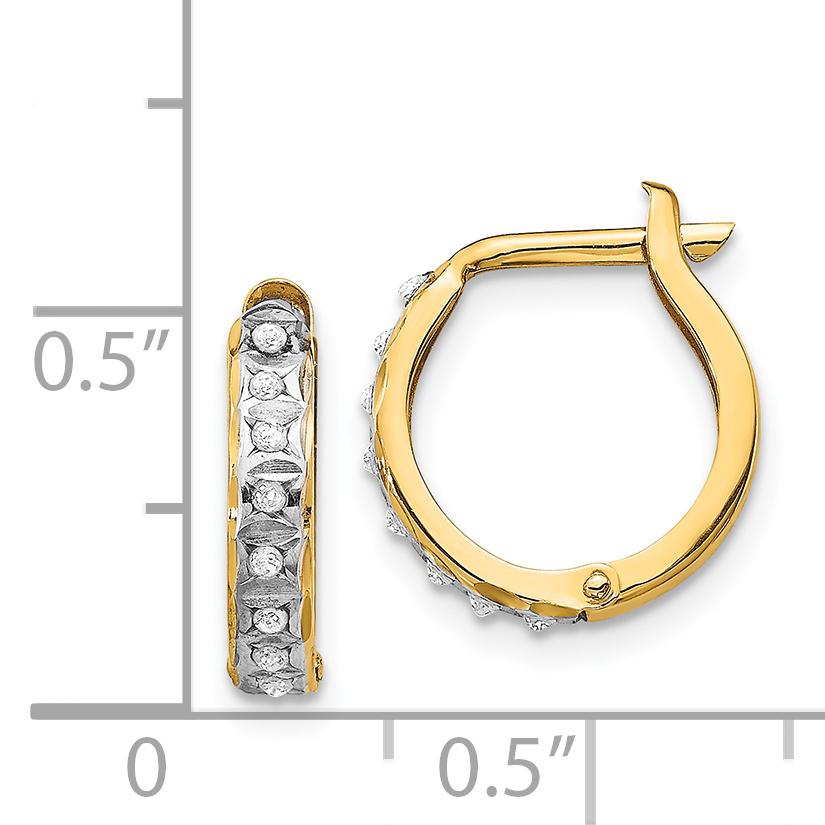 14k Diamond Fascination Ronde Boucles d/'oreilles Créoles à charnières en DF177