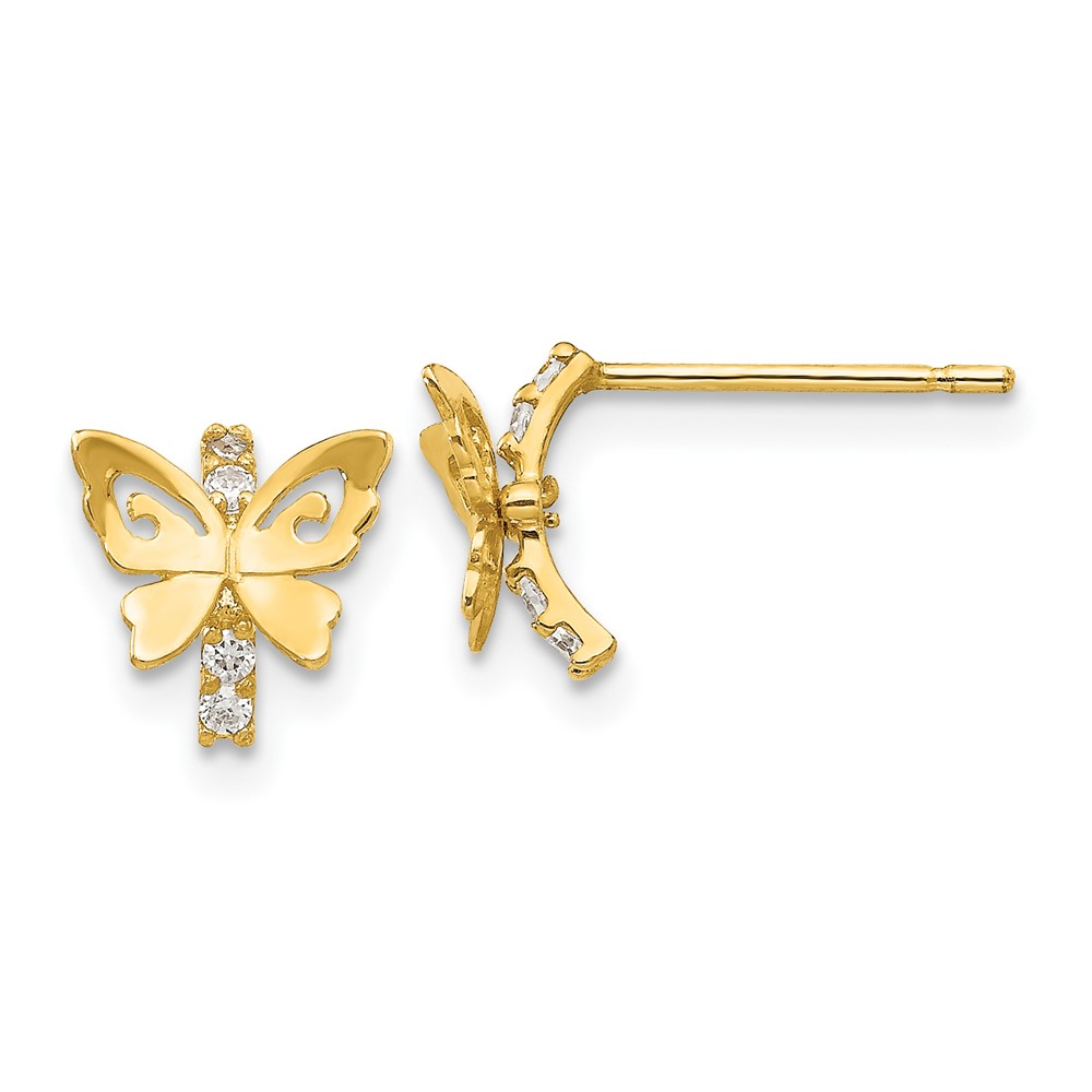 Roy Rose Jewelry 14K Gold Madi K Collection CZ Children's Butterfly Post Earrings