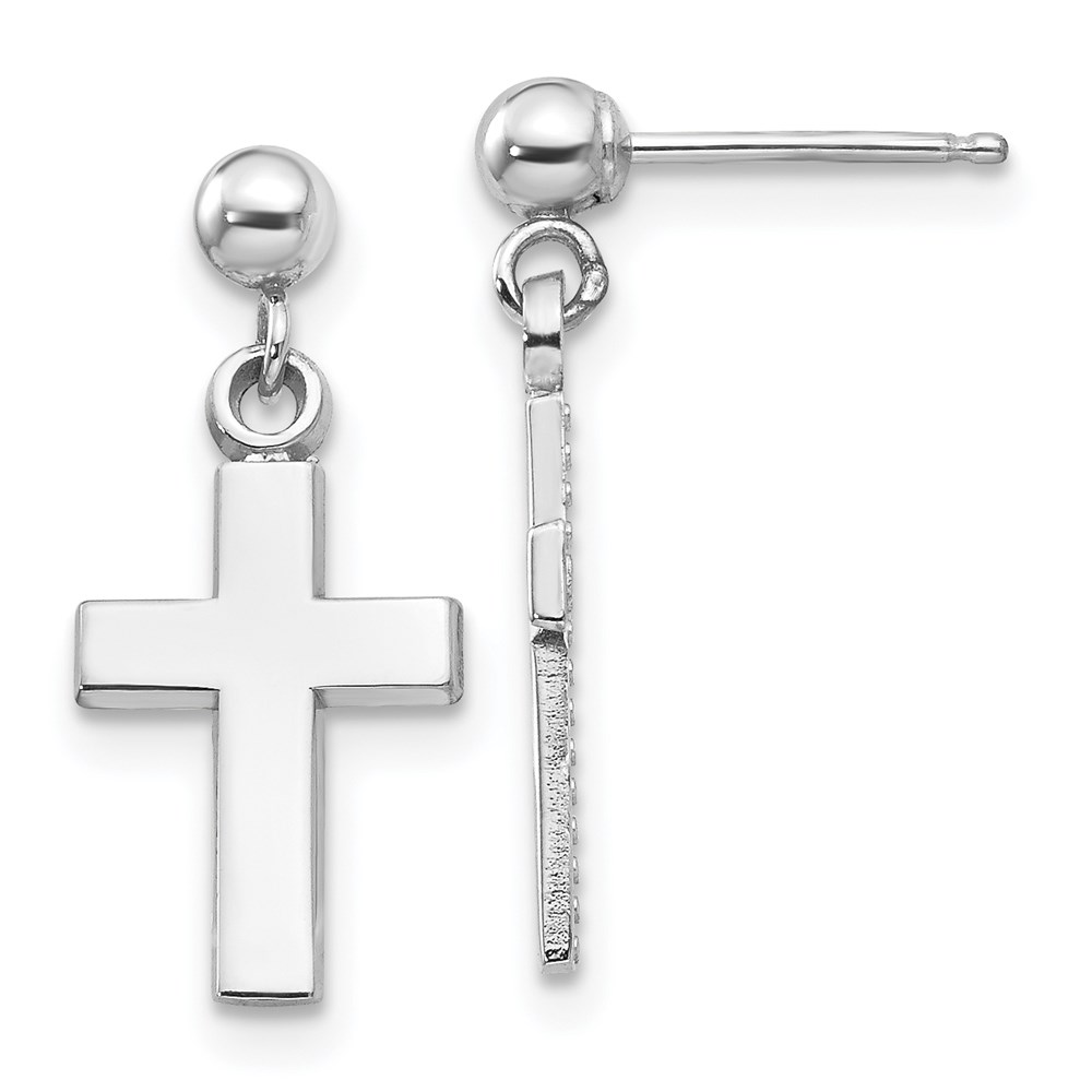 Mia's Collection 14K White Gold Polished Cross Earrings