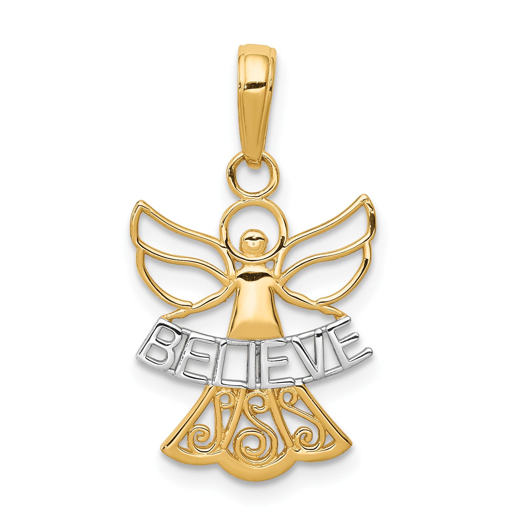 Core Gold 14k w/Rhodium Believe Angel Pendant