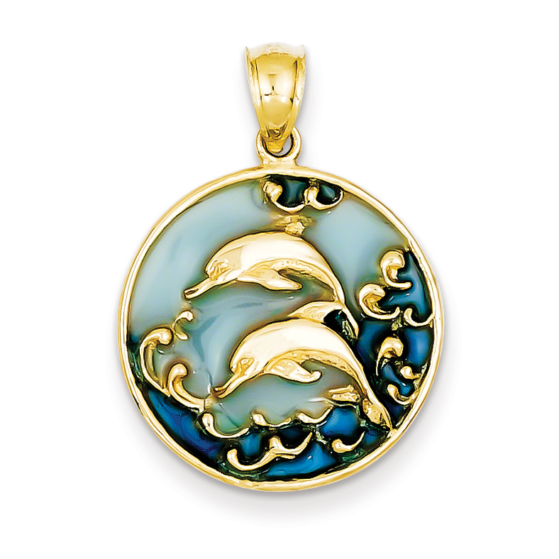 Core Gold 14K Blue Translucent Acrylic Dolphins Pendant at Sears.com