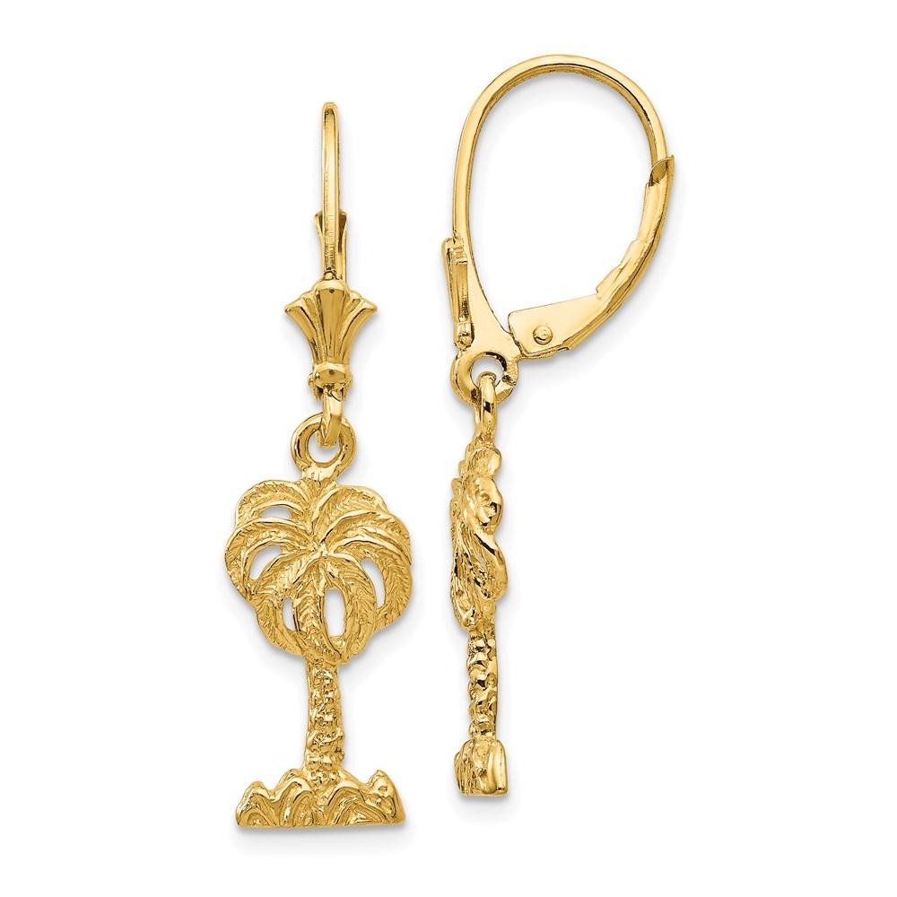Vishal Jewelry 14K Palm Tree Leverback Earrings
