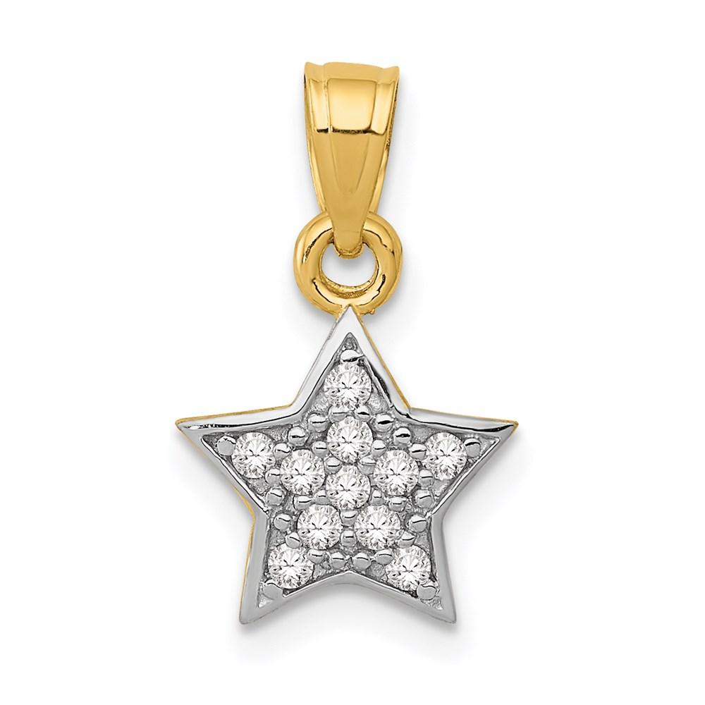 14k Yellow gold Cubic Zirconia Star Rhodium Pendant 0.76gram