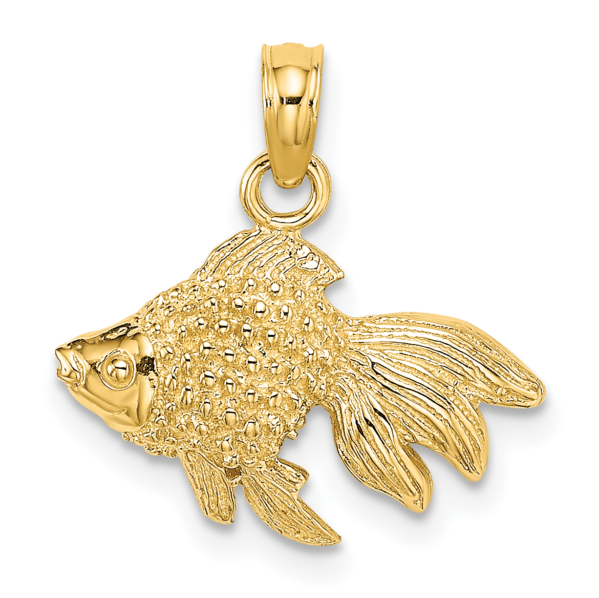 14k Yellow Gold Fish Hook Pendant on a 14K Yellow Gold Rope Box or Curb Chain Necklace