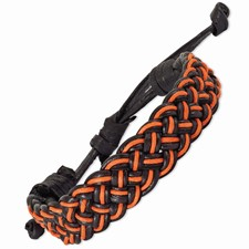 Chisel Adjustable Black and Orange Braided Cotton and Leather Bracelet Set