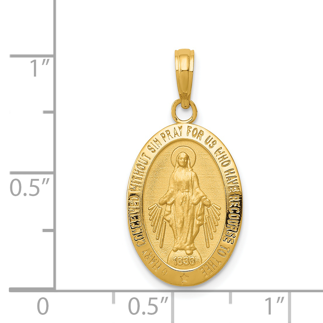 14k Yellow Gold Mary Mother Of God Miraculous Medal Pendant 1inx0