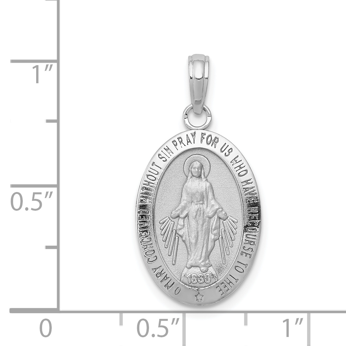14K White Gold 2side Miraculous Mother Mary Charm Badge Medal Pendant 1.5 grams