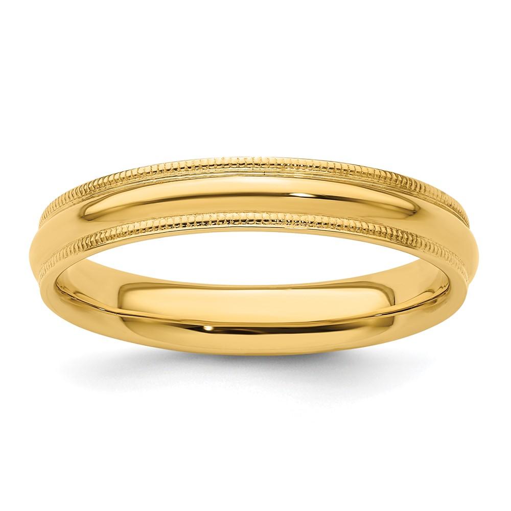 14k yellow gold 4mm engravable milgrain comfort wedding
