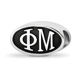 Sterling Silver Logoart Phi Mu Oval Letters Bead