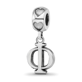 Sterling Silver Rh-plated LogoArt Phi Mu Vertical Letters on Heart Bead