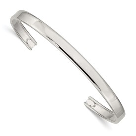 Sterling Silver 5.25mm Fancy Cuff Bangle Bracelet