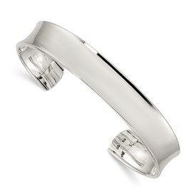 Sterling Silver Concave Cuff Bangle