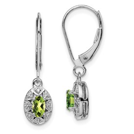 Sterling Silver Rhodium-plated Diam. & Peridot Earrings