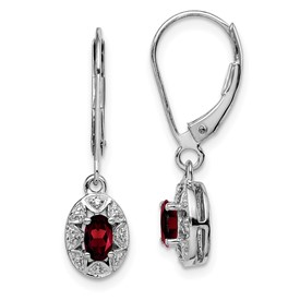 Sterling Silver Rhodium-plated Diam. & Garnet Earrings