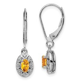 Sterling Silver Rhodium-plated Diam. & Citrine Earrings