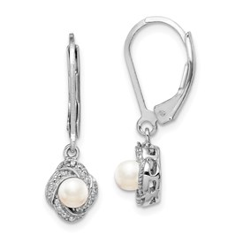 Sterling Silver Rhodium-plated Diam. & FW Cultured Pearl Earrings