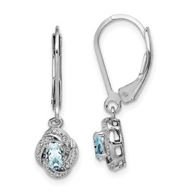 Sterling Silver Rhodium-plated Diam. & Aquamarine Earrings