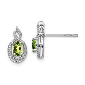 Sterling Silver Rhodium-plated Peridot & Diam. Earrings