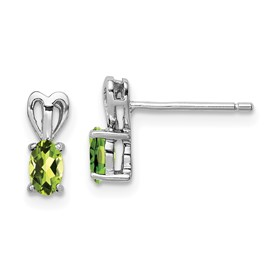 Sterling Silver Rhodium-plated Peridot Earrings