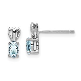 Sterling Silver Rhodium-plated Aquamarine Earrings