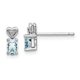 Sterling Silver Rhodium-plated Aquamarine & Diam. Earrings