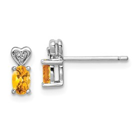 Sterling Silver Rhodium-plated Citrine & Diam. Earrings