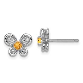 Sterling Silver Rhodium-plated Citrine Earrings