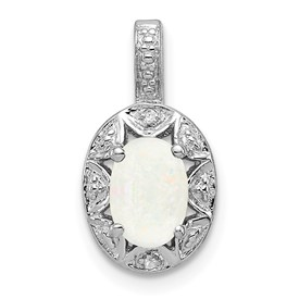 Sterling Silver Rhodium-plated Diam. & Created Opal Pendant