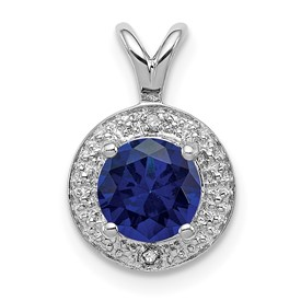 Sterling Silver Rhodium-plated Diam. & Created Sapphire Pendant