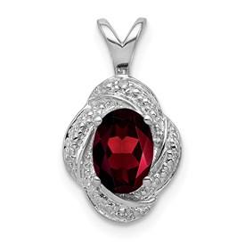 Sterling Silver Rhodium-plated Diam. & Garnet Pendant
