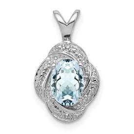 Sterling Silver Rhodium-plated Diam. & Aquamarine Pendant