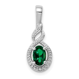 Sterling Silver Rhodium-plated Created Emerald & Diam. Pendant