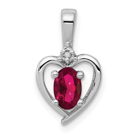 Sterling Silver Rhodium-plated Created Ruby & Diam. Pendant