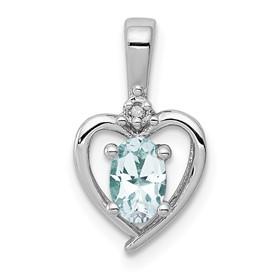 Sterling Silver Rhodium-plated Aquamarine & Diam. Pendant
