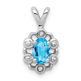 Sterling Silver Rhodium-plated Light Swiss Blue Topaz & Diam. Pendant