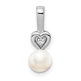 Sterling Silver Rhodium-plated FW Cultured Pearl & Diam. Pendant