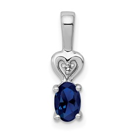Sterling Silver Rhodium-plated Created Sapphire & Diam. Pendant